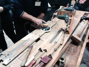 Holz Schleifexperimente